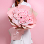 佳人笑-33朵粉玫瑰花束
