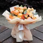 真心橙意-9个橙子水果韩式花束